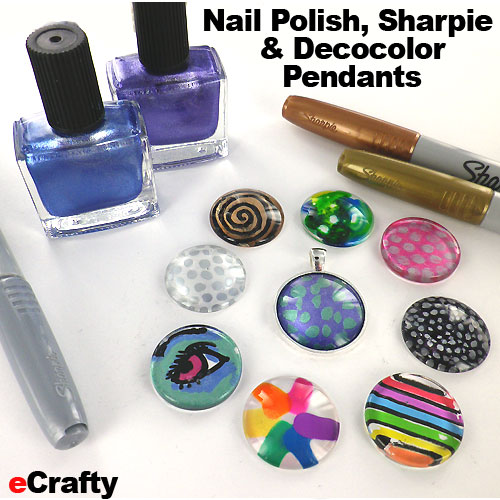 Diy nail polish sharpie decocolor glass tile pendants magnets if you can paint your nails you can make these pendants and fridge magnets aloadofball Image collections